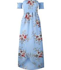 vestido casual generico playa estampada de gasa - cielo azul