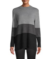 french connection women's colorblock rib-knit sweater - charcoal multi - size xs