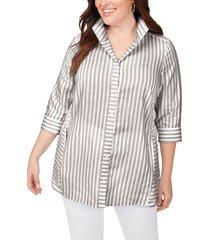 foxcroft soraya stripe non-iron shirt, size 18w in grey at nordstrom