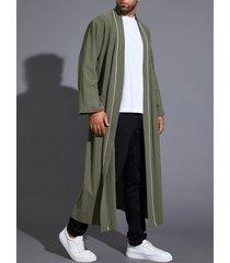 hombres casual otoño invierno retro color sólido abrigo suelto cárdigan con cinturón