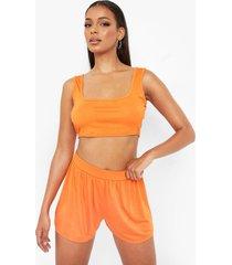 jersey crop top en losse shorts, orange