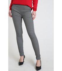 calça legging feminina listrada cintura média branca