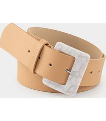 finley saffiano resin buckle belt - tan