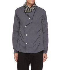 'anthonis' gathered asymmetric placket shirt
