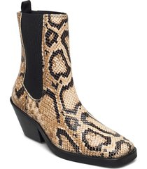slfava snake leather chelsea boot b shoes boots ankle boots ankle boot - heel beige selected femme