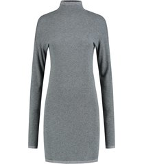 grijze dames jurk met col nikkie jessa turtle neck dress - n7-783 1901 9050