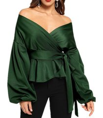 blusa con hombros descubiertos y manga larga diseño blusa