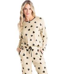 pijama longo estampado com bolso mel