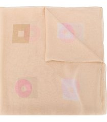 bulgari pre-owned 2000s geometric print sheer scarf - neutrals