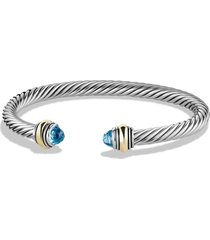 david yurman cable classics bracelet with semiprecious stones & 14k gold accent, 5mm, size medium in blue topaz at nordstrom