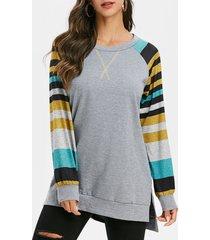 striped raglan sleeve high low slit sweatshirt