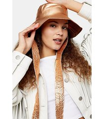 copper metallic tie bucket hat - copper