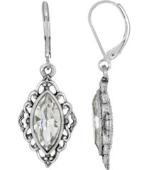 2028 silver-tone crystal diamond drop lever back earrings