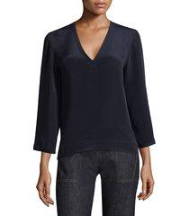 derek lam women's v-neck full-sleeve blouse - black - size 42 (6)