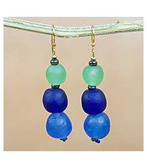 recycled glass and plastic beaded dangle earrings, 'blue novelty' (ghana)