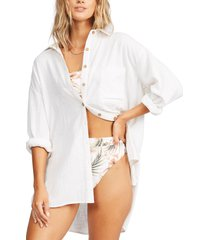 billabong in the tide long sleeve cotton button-up shirt, size large in salt at nordstrom