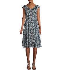 floral-print cotton blend button-front dress