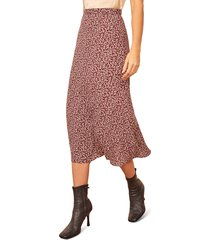 women's reformation bea midi skirt, size 0 - red