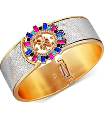 guess gold-tone multicolor crystal & logo charm faux-leather bracelet