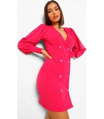 blazer jurk met ballonmouwen en knoop detail, warm roze