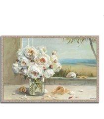 "tangletown fine art coastal roses v.2 by danhui nai fine art giclee print on gallery wrap canvas, 38"" x 26"""
