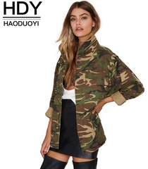 2017 loose camouflage coat collar pocket long sleeve zipper outwear jacket s-2xl