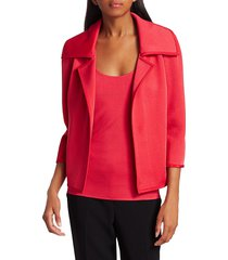st. john women's liquid milano knit notch jacket - poppy - size 8