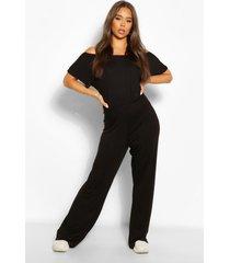 oversized jumpsuit met wijde pijpen en boothals, zwart