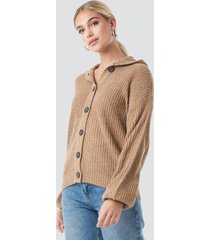 na-kd trend hood knitted sweater - brown,beige