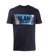 emporio armani camiseta com logo pespontado - azul