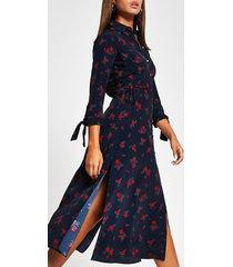 river island womens blue floral print side split shirt midi dress