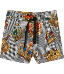 dolce & gabbana bermuda shorts with stripes and crowns