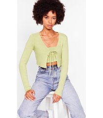 womens knit on my watch cardigan and bandeau set - pistachio