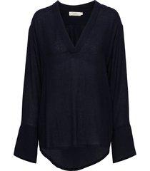 caia blouse lange mouwen blauw rabens sal r