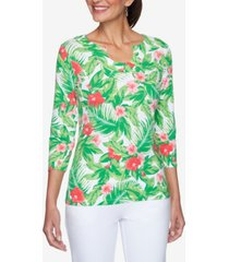 ruby rd. women's misses tropical floral print top