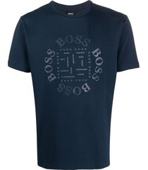 boss rubberised logo t-shirt - blue