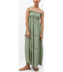 mango women's elastic panel linen dress