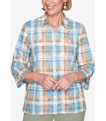 alfred dunner three quarter sleeve two pocket burnout plaid woven shirt