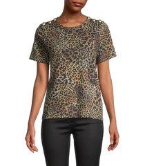 veronica beard women's carla leopard-print pima cotton top - brown multi - size xs