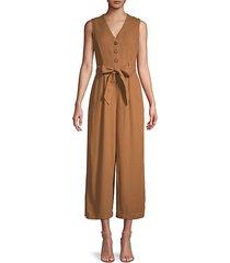 linen-blend belted jumpsuit