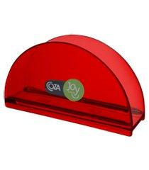 porta-guardanapos redondo 13,7 x 6 x 10 cm vermelho transparente coza vermelho