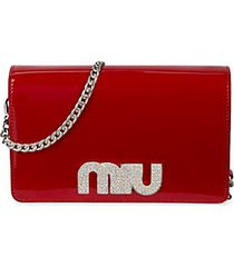 embellished logo patent leather clutch