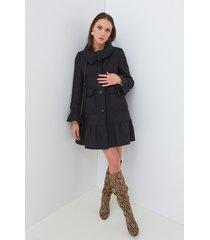 motivi cappotto con balze premium edition made with love donna nero