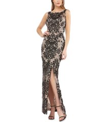 js collections embroidered side-slit gown