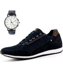 sapatênis casual neway florense azul + relógio