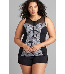 lane bryant women's half-zip no-wire swim tankini top 18 graphic leaves