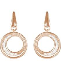 orecchini in ottone rosato e cristalli per donna