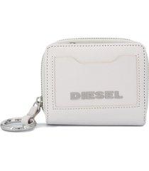 diesel logo plaque wallet - white