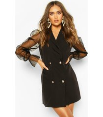 blazer jurk met organza mouwen en knoop detail, black