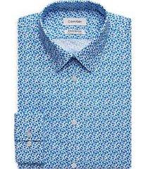 calvin klein infinite blue floral extreme slim fit dress shirt